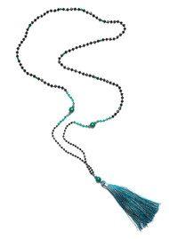 TRIBE + FABLE Single Tassel Necklace - Black & Jade Emerald