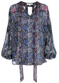 RIXO London Vivian Blouse with Neck Tie - Multi Paisley