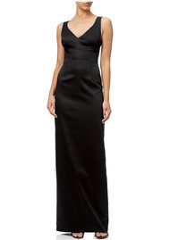 ADRIANNAPAPELL V Neck Ottoman Column Gown - Black