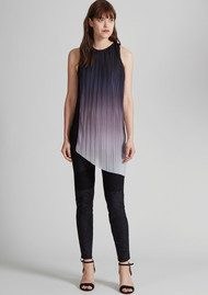 Great Plains Fade Out Asymmetric Top - Black, Pink Opal and White Ombre