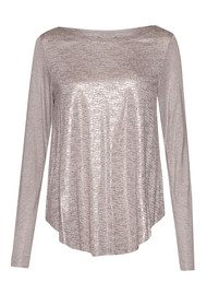 Great Plains Crystalline Jersey Metallic Long Sleeve Top - Pink Opal and Rose Gold