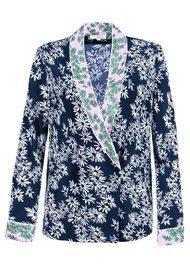 RIXO London Mary Kate Silk Blouse - Pink Navy Daisy