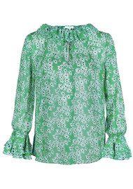 RIXO London Amber Silk Blouse - Green Daisy