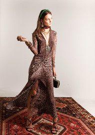RIXO London Rose Silk Dress - Leopard