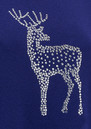 COCOA CASHMERE Reindeer Crystal Boxy Jumper - French Navy