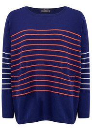 COCOA CASHMERE Striped Pocket Jumper - French Navy, Chalk & Blaze