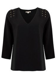 COOPER AND ELLA Adel Lace Up Blouse - Black