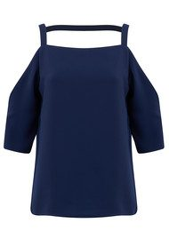 COOPER AND ELLA Zoe Cold Shoulder Top -  Navy
