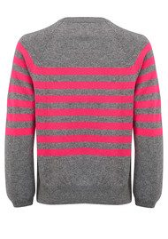 JUMPER 1234 French Stripe Cashmere Jumper - Mid Grey and Neon Pink