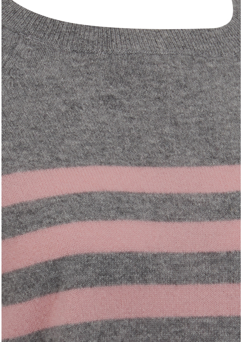 JUMPER 1234 French Stripe Cashmere Jumper - Mid Grey & Dusty Pink main image