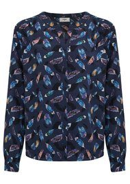 Pyrus Feather Print Blouse - Feather Print