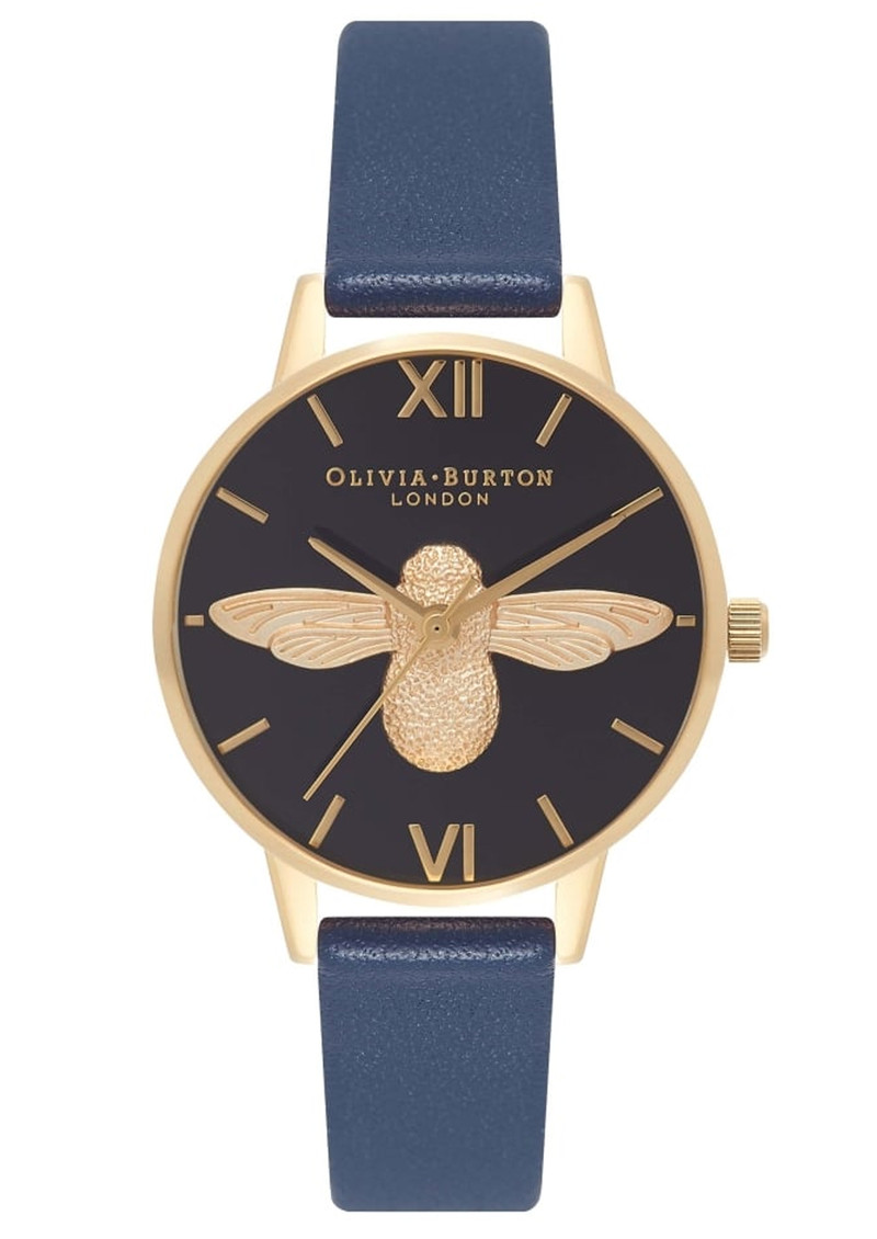 Olivia Burton In The Navy Midi  Moulded Bee Watch - Navy & Gold main image