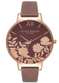Olivia Burton Lace Detail Watch - Brown & Rose Gold