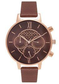 Olivia Burton Chrono Detail Brown Dial Watch - Brown & Rose Gold