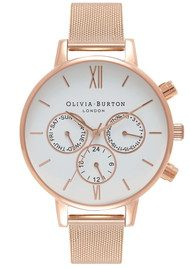 Olivia Burton Chrono Detail White Dial Mesh Watch - Rose Gold
