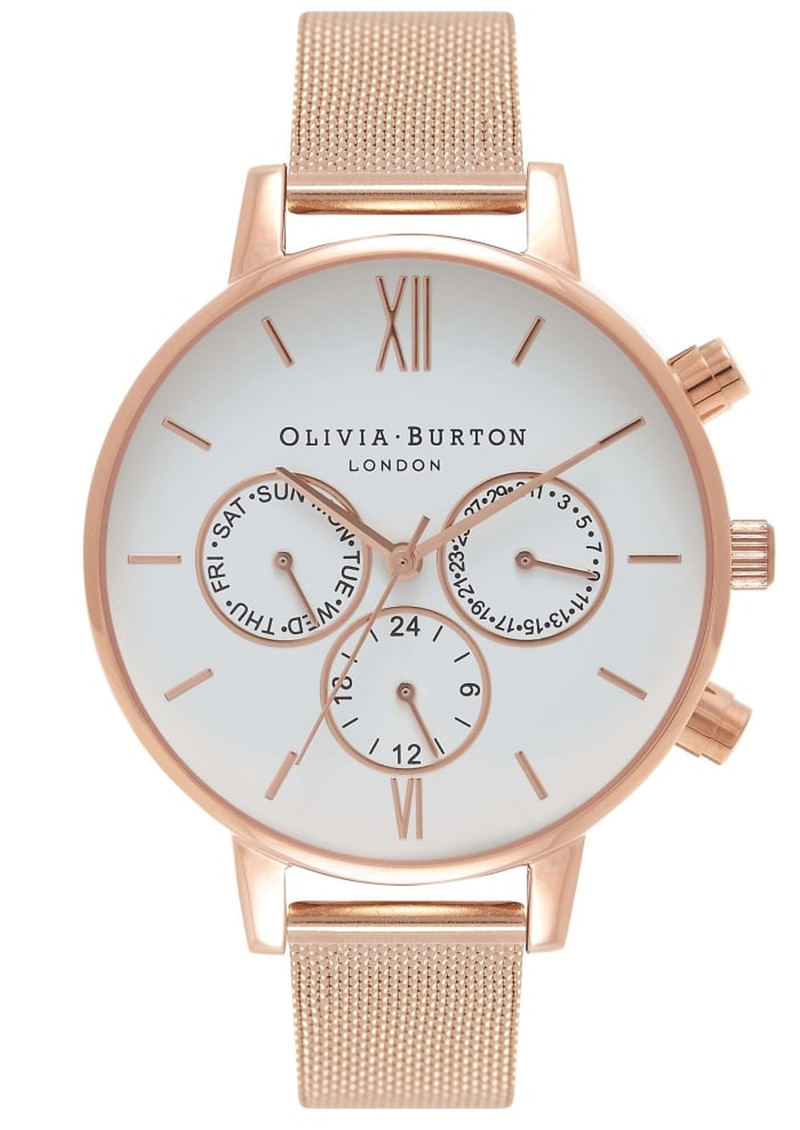 Olivia Burton Chrono Detail White Dial Mesh Watch - Rose Gold 8ab3e277b3