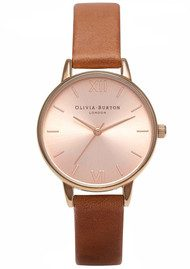 Olivia Burton Midi Dial Watch - Tan & Rose Gold