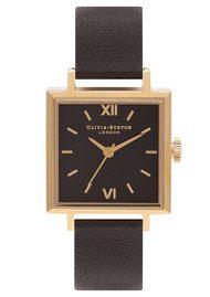 Olivia Burton Square Dial Watch - Black & Gold