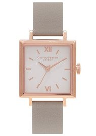 Olivia Burton Square Dial Watch - Grey & Rose Gold