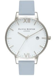 Olivia Burton Timeless White Face Watch - Chalk Blue & Silver