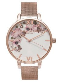 Olivia Burton Winter Garden Mesh Watch - Rose Gold