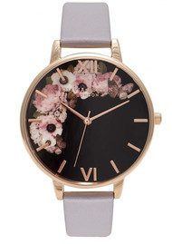 Olivia Burton Winter Garden Black Dial Watch - Grey Lilac & Rose Gold