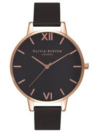 Olivia Burton Big Dial Black Dial IP Black Mesh Watch - Rose Gold