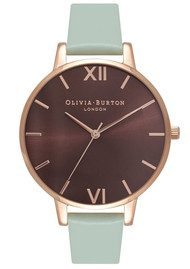Olivia Burton Big Dial Brown Dial Watch - Mint & Rose Gold