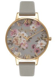Olivia Burton Flower Show Big Dial Watch - Grey & Gold