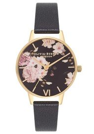 Olivia Burton Flower Show Midi Watch - Black & Gold