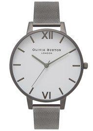 Olivia Burton Big White Dial Mesh Watch - Gunmetal