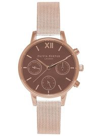 Olivia Burton Midi Chrono Detail Brown Dial Mesh Watch - Rose Gold