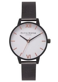 Olivia Burton Midi White Dial Mesh Watch - IP Black & Rose Gold