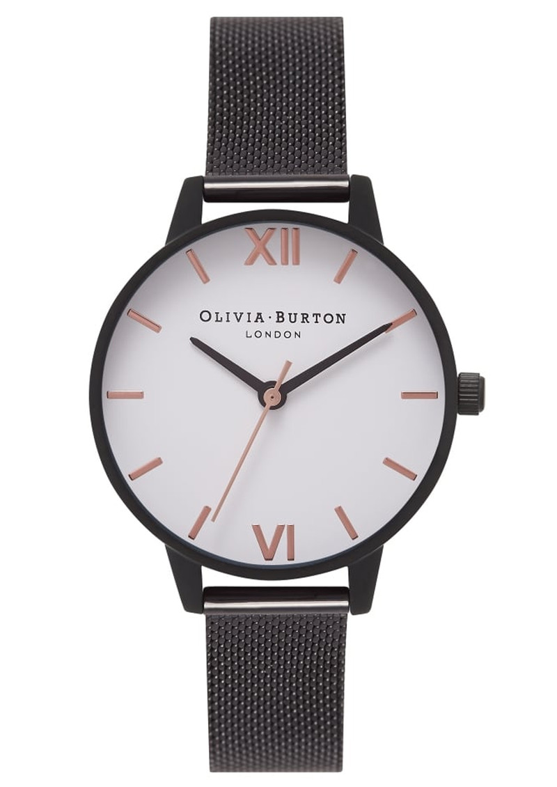 Olivia Burton Midi White Dial Mesh Watch - IP Black   Rose Gold facc9cd472dd