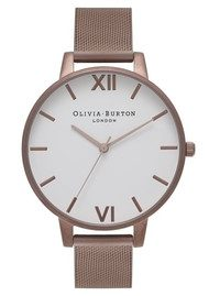 Olivia Burton Big Dial White Dial Mesh Watch - Brown