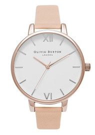 Olivia Burton Big Dial White Dial Watch - Peach & Rose Gold