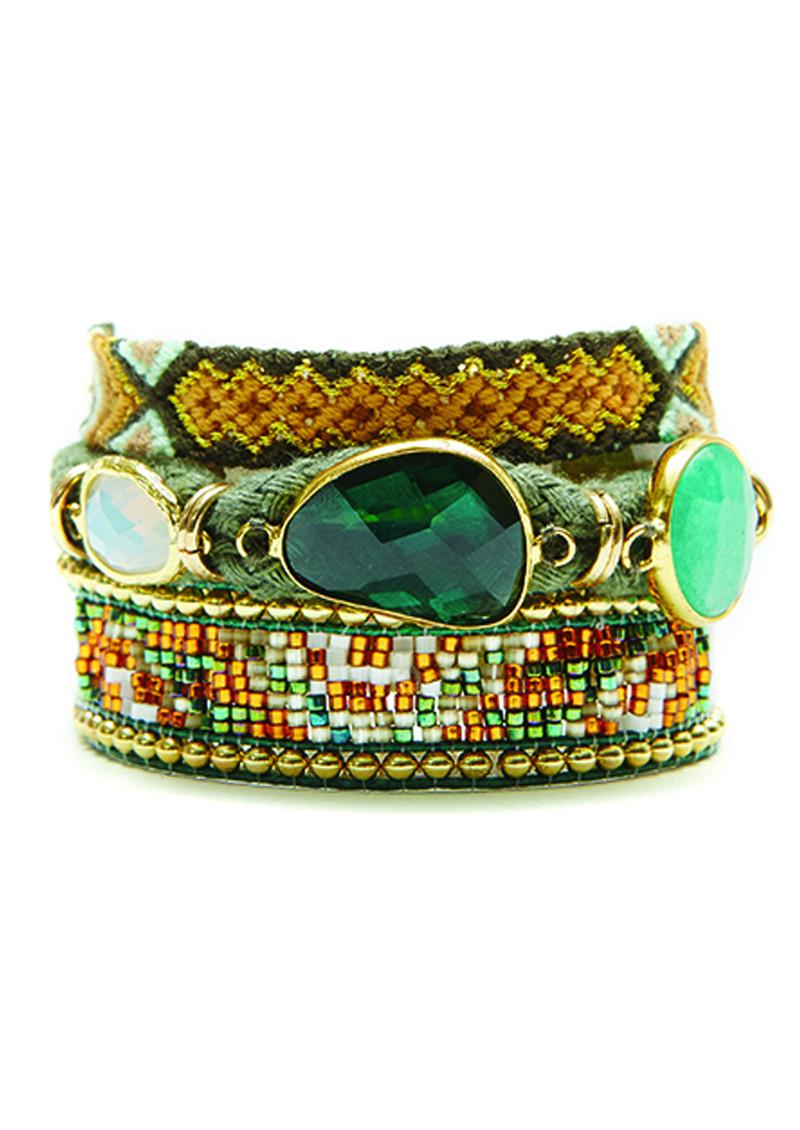 HIPANEMA Naishville Bracelet - Green & Gold main image
