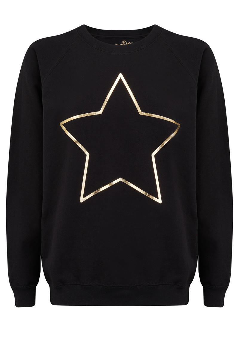 ON THE RISE Star Jumper - Black & Gold main image