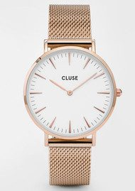 CLUSE La Boheme Mesh Watch - Rose Gold & White