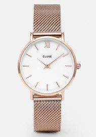 CLUSE Minuit Mesh Watch - Rose Gold & White
