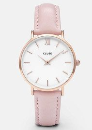 CLUSE Minuit Rose Gold Watch - White & Pink