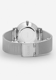 CLUSE Minuit Mesh Watch - Silver & White