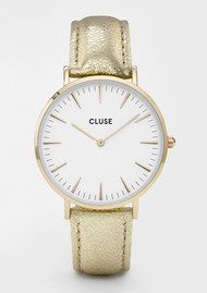 CLUSE La Boheme Metallic Watch - Gold & White
