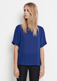 SAMSOE & SAMSOE Signy Short Sleeve Silk Top - Estate Blue