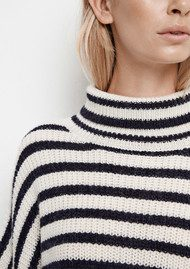 SAMSOE & SAMSOE Hedvig Turtle Neck Stripe Jumper - Dark Blue Stripe