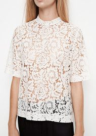 SAMSOE & SAMSOE Becks Short Sleeve Lace Top - Clear Cream