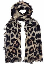 Lily and Lionel Kitty Leopard Print Silk Scarf - Neutral