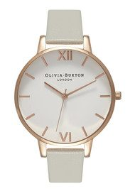 Olivia Burton Big White Dial Watch - Grey and Rose Gold