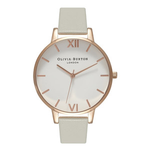Big White Dial Watch - Grey and Rose Gold
