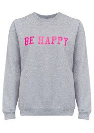 ON THE RISE Be Happy Jumper - Grey & Neon Pink